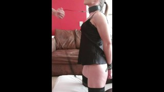 Hot milf on a leash deepthroat and assfucked. Swallow