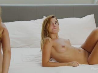 WOWGIRLS Beautiful girls Emily Mayers and Agatha Vega having a hot lesbian fuck in bed